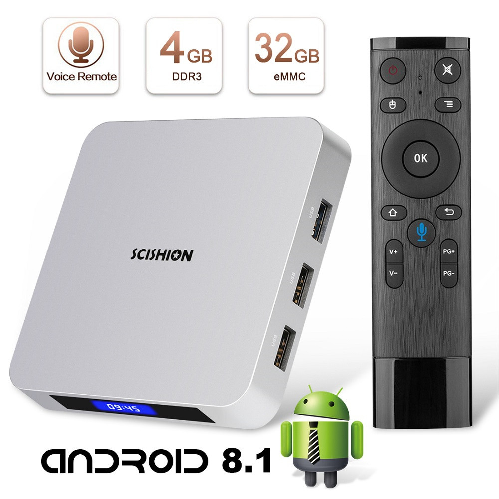 leelbox smart tv box android 8.1 4gb ram 32gb rom scishion ai one tv 4K voice control remote control WiFi LED BT4.0 Set-top box