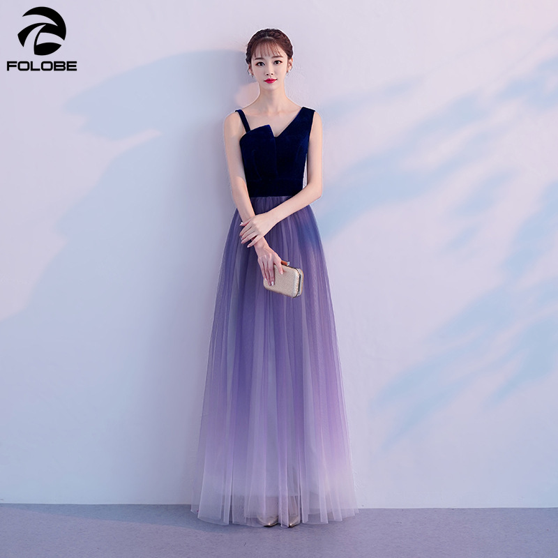FOLOBE 2019 Fashion A line Gradient Ombre Tulle Women Formal Party Dress Blue Sleeveless Floor Tea