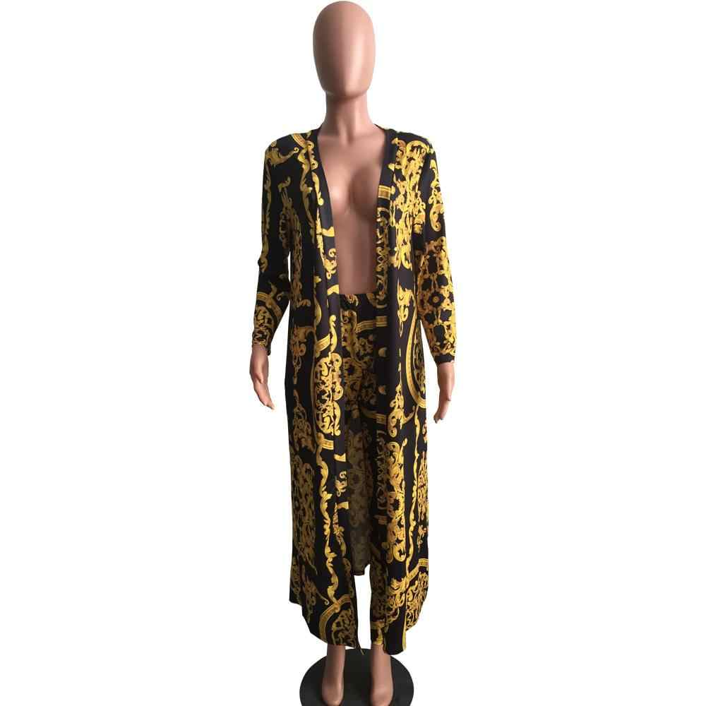 311a25f6d5 Euramerican Gold Chain Flower Women Sets Two Piece Pencil Pants Long Coat  Jacket Suits 2pcs Sets Outfit Streetwear Robe Overcoat