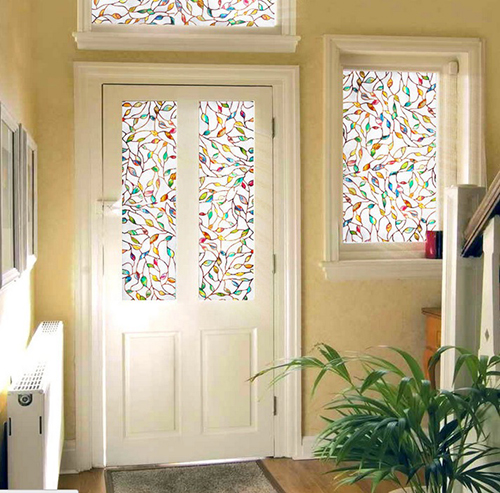 Decorative Films Windows Static Cling Stained Leaf Glass
