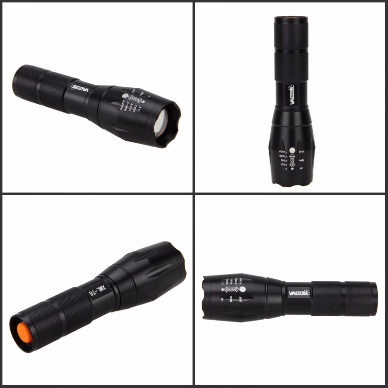 A100 Zoomable 1000LM hunting flashlight Police Tactical XML T6 White LED 5modes Flashlight Hunting Torch in LED Flashlights from Lights Lighting