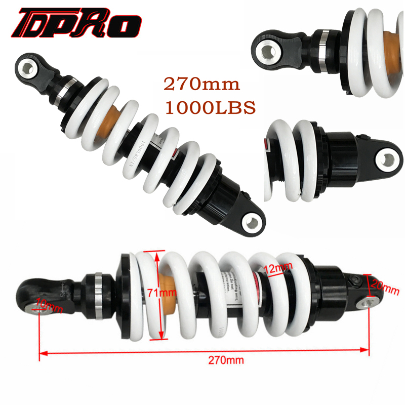 TDPRO Off Road Moto Shock Absorber Motorcycle Spring Suspension Alloy Rear Shocks Eliminator Absorbers 1000LBS 270mm