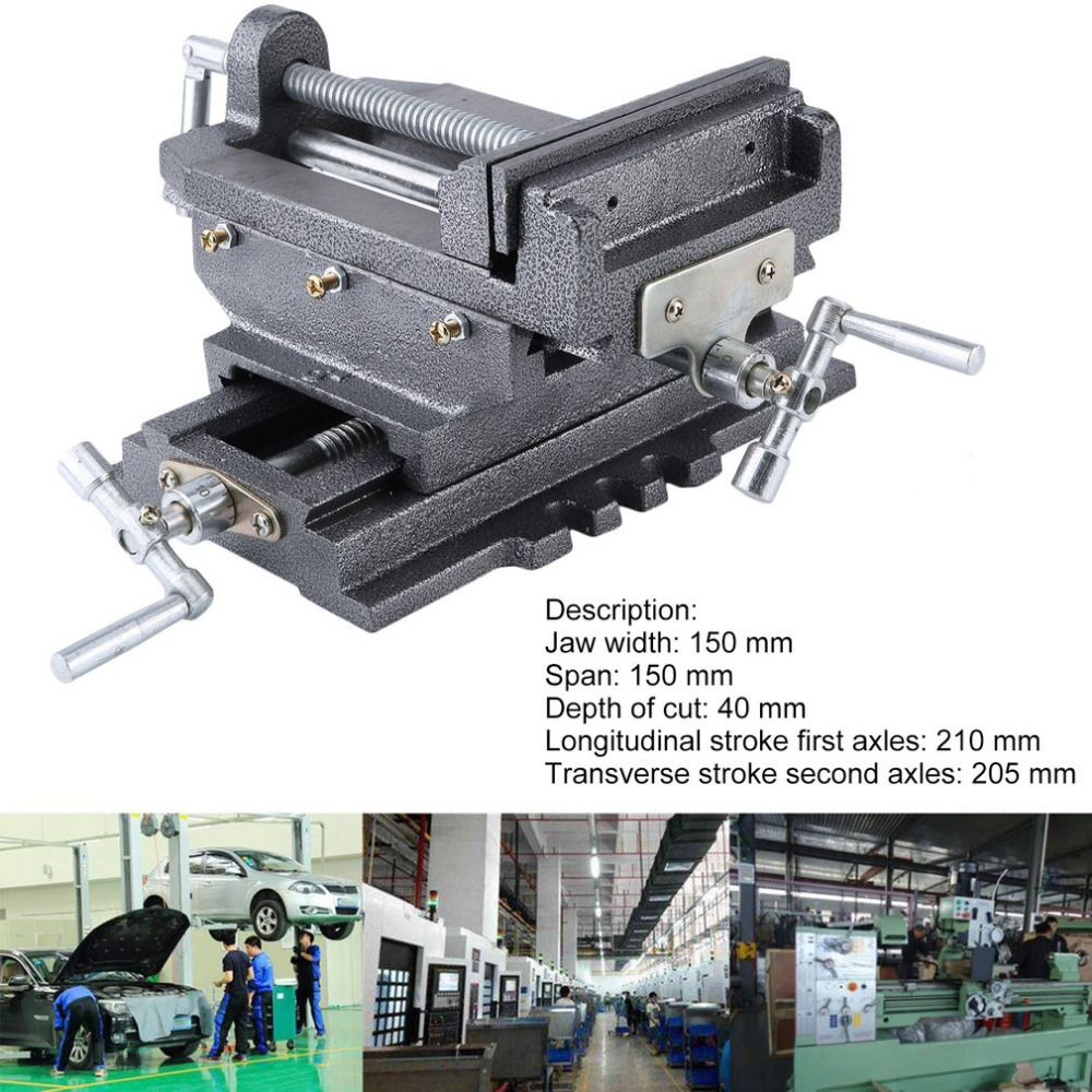 Compact Bench Clamp 2-Axles Cross Working Table Vice For Drilling Milling Machine Professional 6 Inch Bench Vise Ship From DE цена