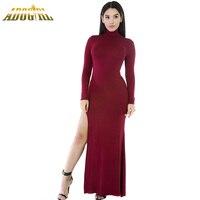 Adogirl Nieuwe Collectie Herfst 2016 Vrouwen Lange Mouwen Elegante Jurk Zwart Wijnrood Side Split Slit Jesery Maxi Jurken Vestidos