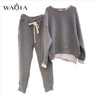 WAQIA Autumn Women Set Tracksuit Long Sleeve Stitching Sweatshirts Casual Suit Winter Clothes Two Piece Set Tops Pants Female