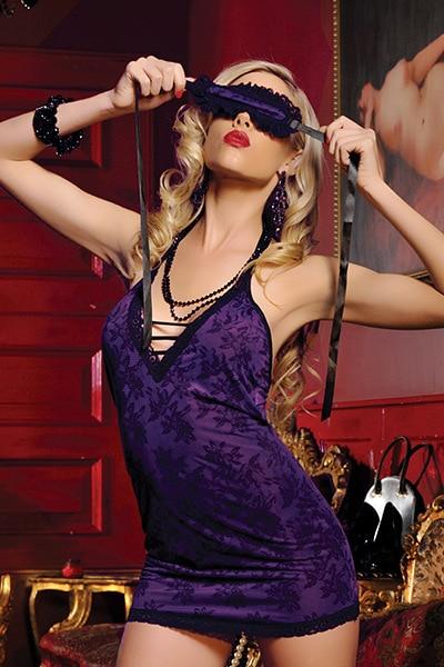 Fashion New Purple temptation short skirt suspender skirt Storm drain sleepwear belt blindages sexy Baby Dolls sexy Chemises