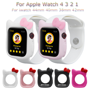 цена на Cute Silicone Watch Case For Apple Watch 4 3 2 1 TPU Protective Cover For iwatch 44mm 40mm 38mm 42mm Bumper Shell Accessories