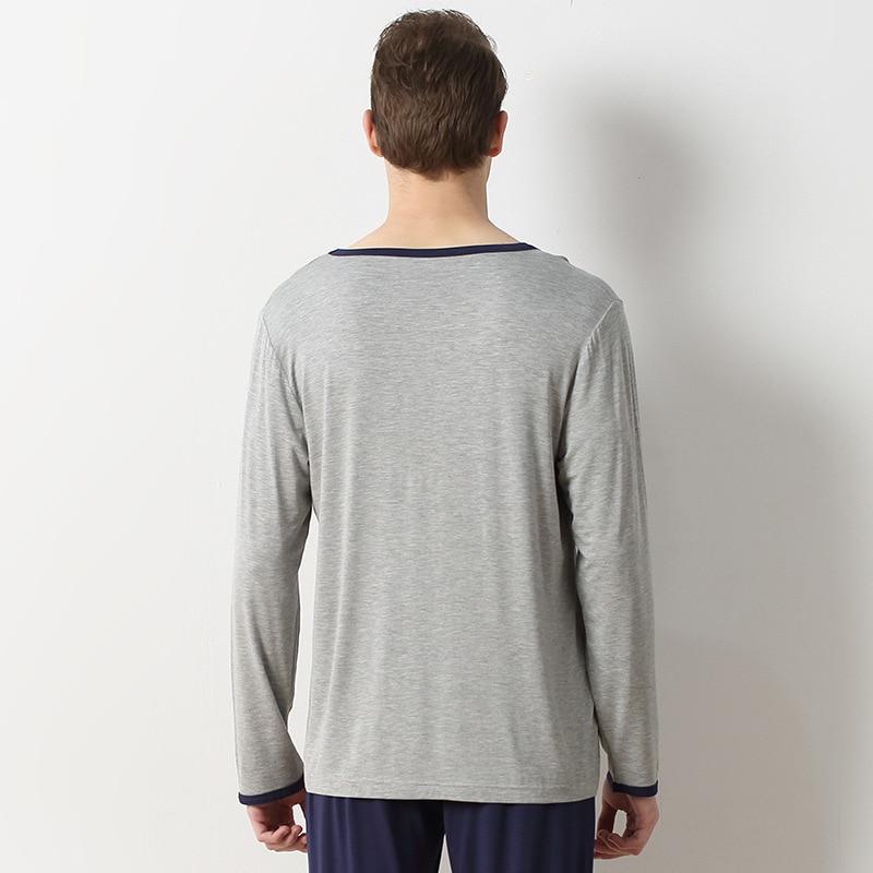 Manches Qianxiu Pantalon À Modal Pyjamas Hommes Simple Coton Longues gqrq6Ywv