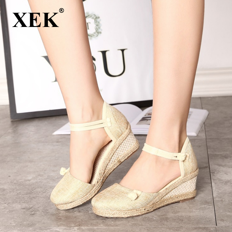 XEK Handmade Summer Women Linen Close Toe Wedge Sandals Mid Heel Ladies Casual Hemp Shoes GSS100