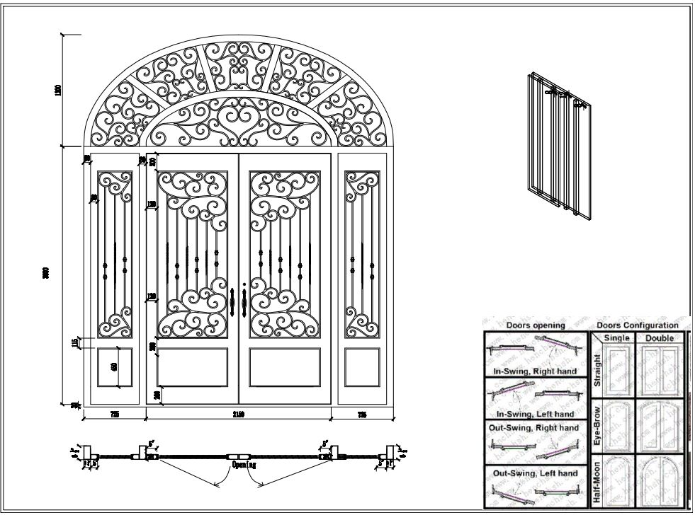 Iron Front Doors Cad Wrought Iron Doors 8mm Clear Glass