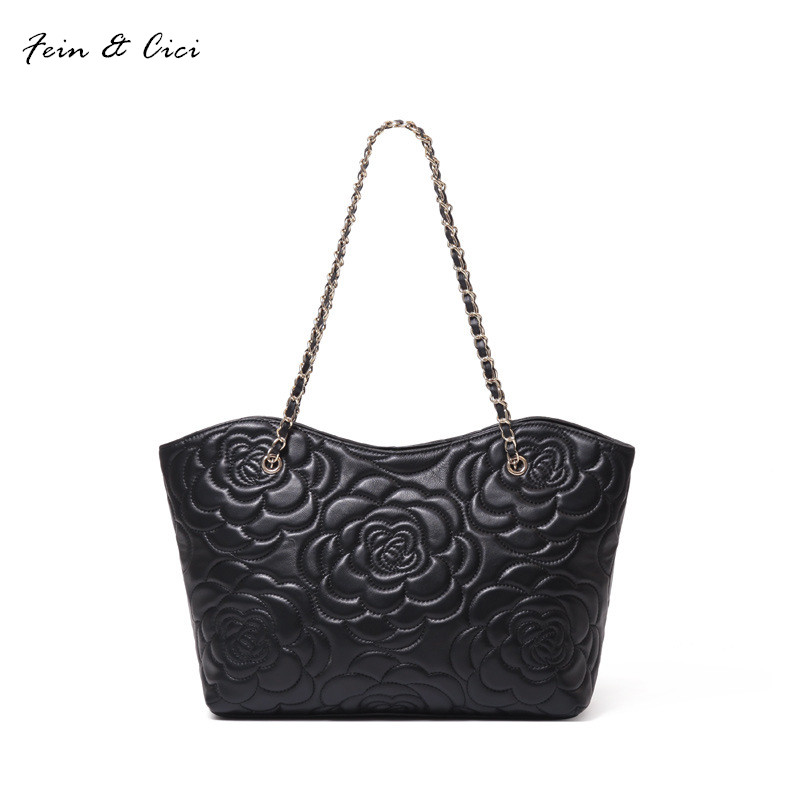 genuine leather shoulder bag flowers handbag women 100% sheepskin classic fashion luxury brand shoulder bag black color luxury brand chains double flap bag 100% genuine leather sheepskin women classic shoulder bag handbag totes red black beige pink