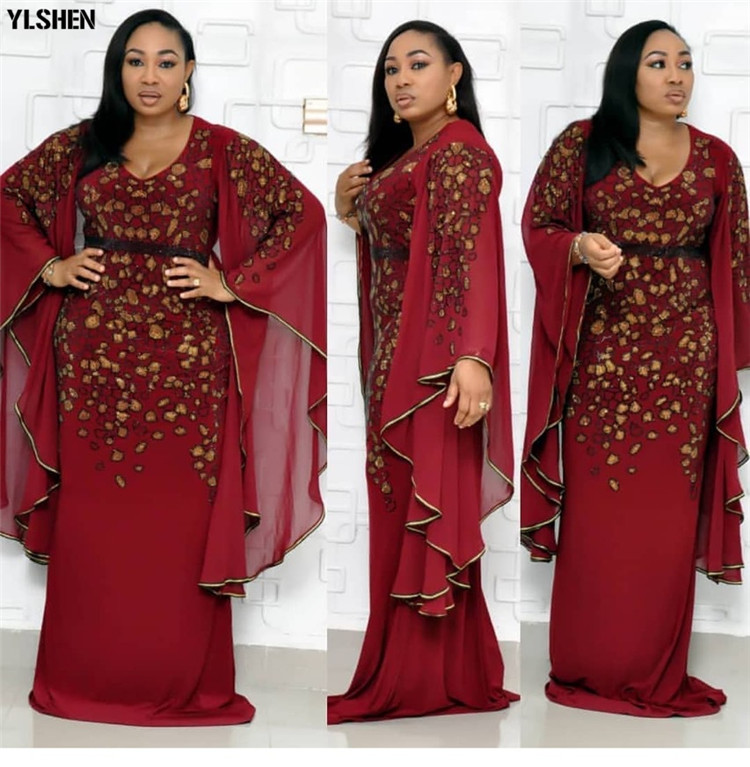 African Dresses for Women 2019 New Dashiki Embroidery Sequins African Clothes Bazin Riche Sexy Slim Big Sleeve Long Africa Dress 03