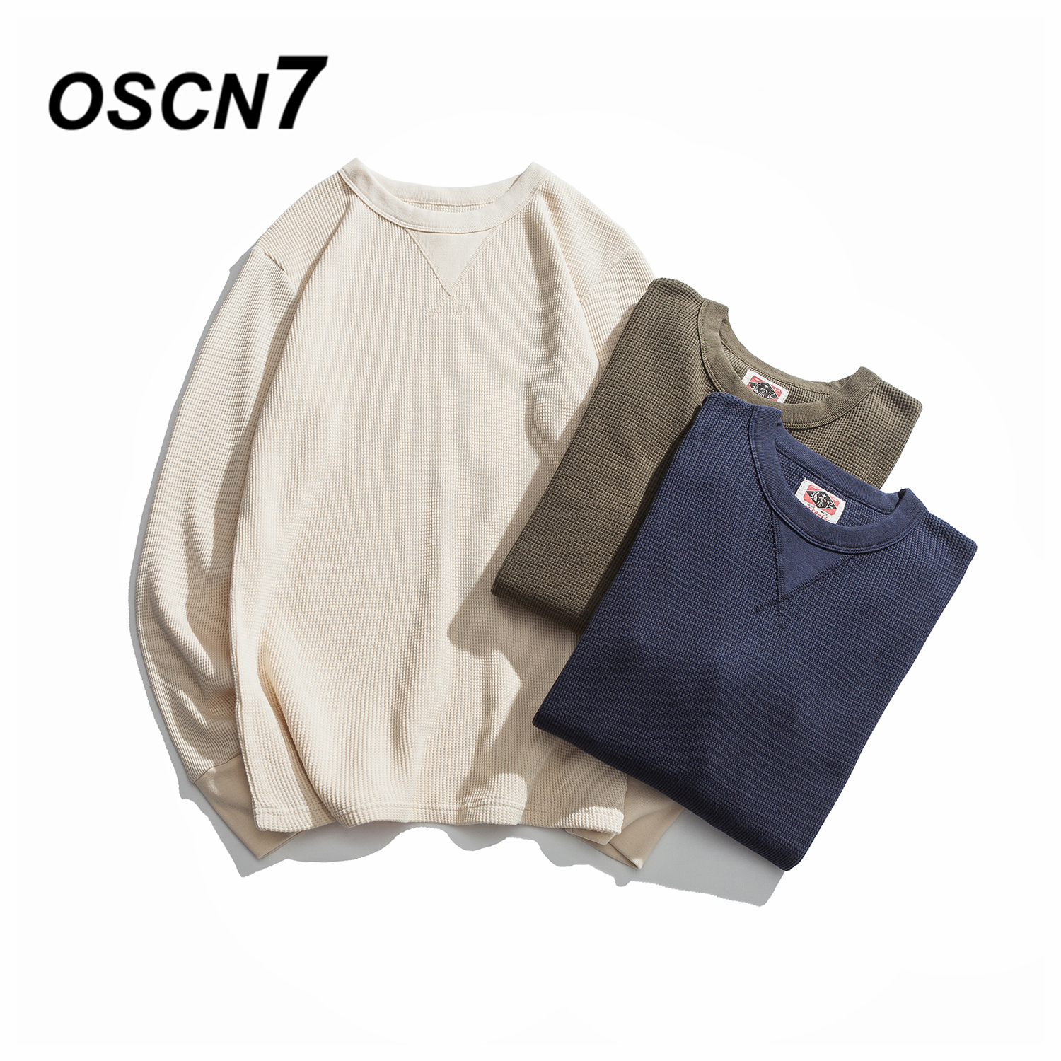 OSCN7 Solid Waffle T Shirts Men Loose Casual 2018 New Autumn Long Sleeve Tee Shirt Homme Plus Size Fashion Mens T shirt R8213