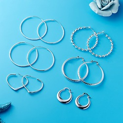 Silver Color Trendy Small Big Circle Hoop Earrings Large Heart Round Earrings For Women Fashion Jewelry Big Hoops Party Gifts