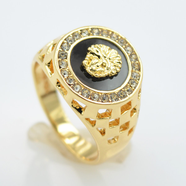 brand new high quality CZ Crystal superhero mens rings gold color