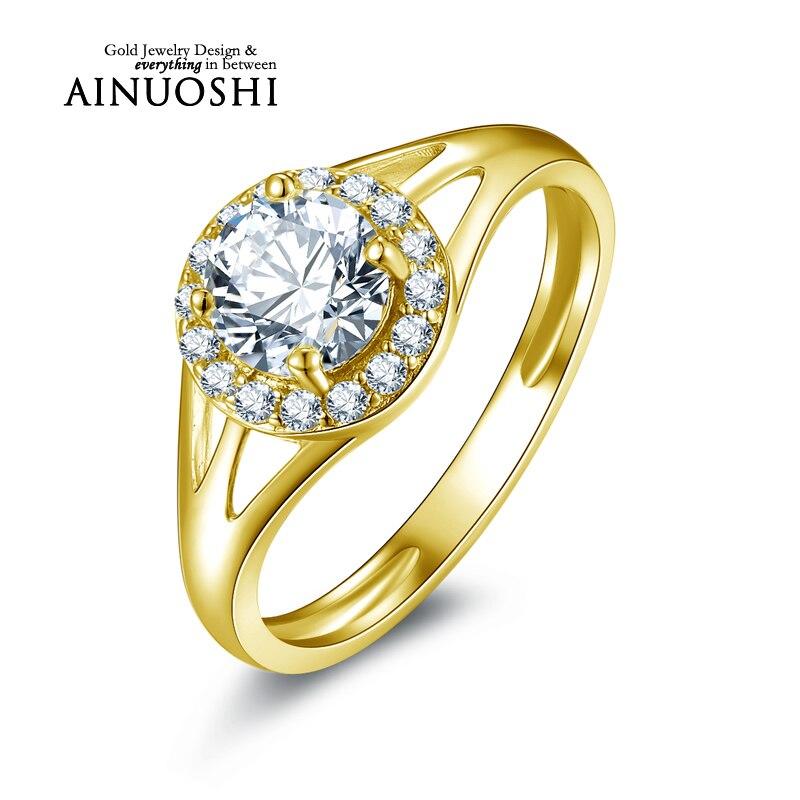 Ainuoshi 10 كيلو الصلبة الذهب الأصفر خاتم الخطوبة 0.8 قيراط جولة قص مقلد الماس غرامة مجوهرات anillos موهير النساء الزفاف خواتم