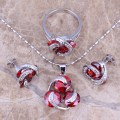 Hot Sell ! Red Created Garnet Silver Jewelry Sets Earrings Pendant Ring Size 5 / 6 / 7 / 8 / 9 / 10  S0124