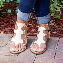 Woman Flip Flops Leather Bandage Flat Shoes