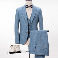 Blue Linen Suit Men Casual Summer Beach Wedding Suits For Men Groom Best Man Prom Party Blazer Slim Fit Terno Masculino 3 Pieces