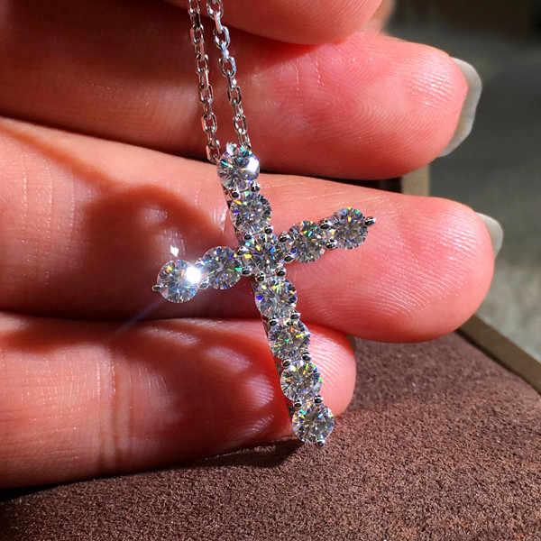 Colar de cristal de zircão, colar feminino fofo com pingente de cruz e prata, gargantilha de cores prateadas, para mulheres