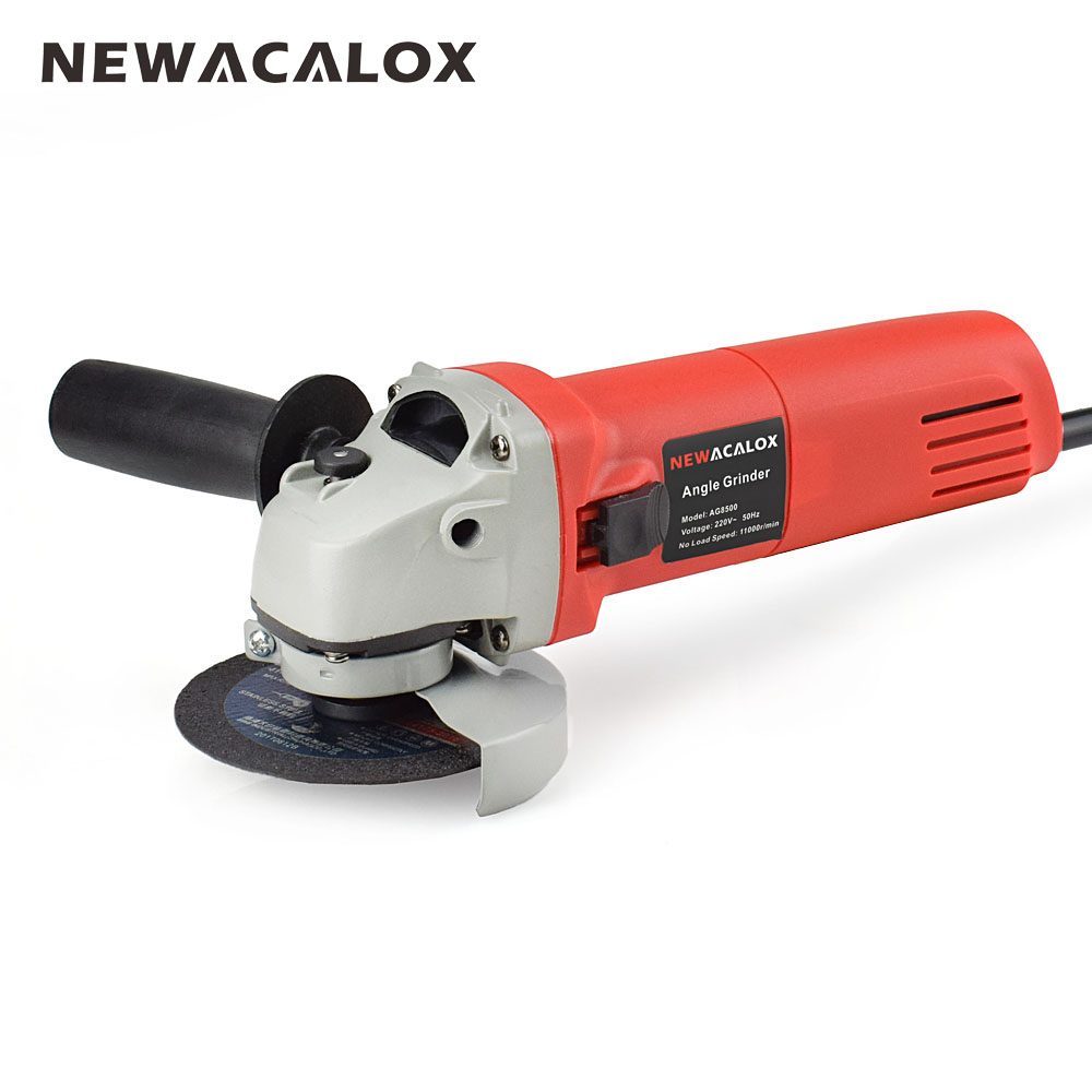 NEWACALOX EU 220V 670W Handheld Electric Angle Grinder Speed Regulating Grinding Machine for Metal Wood Polishing Cutting Tool