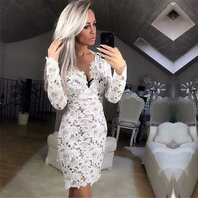 322c6ccc059b0 US $18.19 10% OFF|DRESSMECB Deep V Neck Lace Elegant Sheath Short Party  Dresses Summer Sexy Long Sleeve Women Bodycon Office Mini Dress Vestidos-in  ...