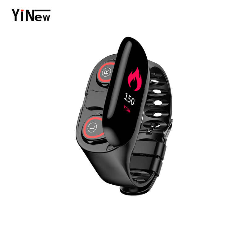 M1 Nirkabel Bluetooth Earphone dengan Monitor Detak Jantung Stereo Earbud Bass Headset Sport Smart Watch Gelang Earphone