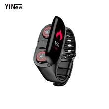M1 écouteur sans fil Bluetooth avec moniteur de fréquence cardiaque écouteurs stéréo casque de basse Sport montre intelligente bracelet écouteurs