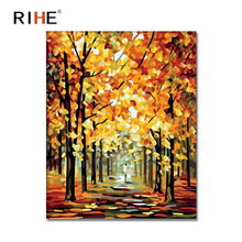 RIHE Fall Tree Diy Painting By Numbers Abstract Golden Leaf Oil Painting On Canvas Cuadros Decoracion Acrylic Wall Picture 2018 rihe fall park diy painting by numbers chair woman oil painting on canvas cuadros decoracion acrylic wall picture home decor