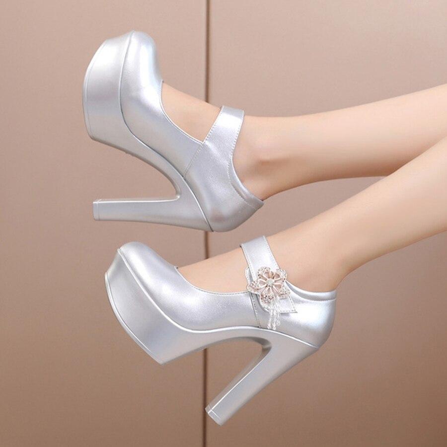 Petite Étanche white Femmes silver Confortable Black Métal Chaussures Haute Super Talons Taille Pétale Élégant Simple forme Plate Simples En Et Conception wqRI10