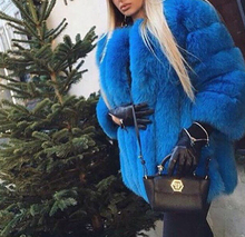 Women's long natural genuine fox fur coats for winter thick warm fur vertical full pelt fur outerwear for ladies plus size