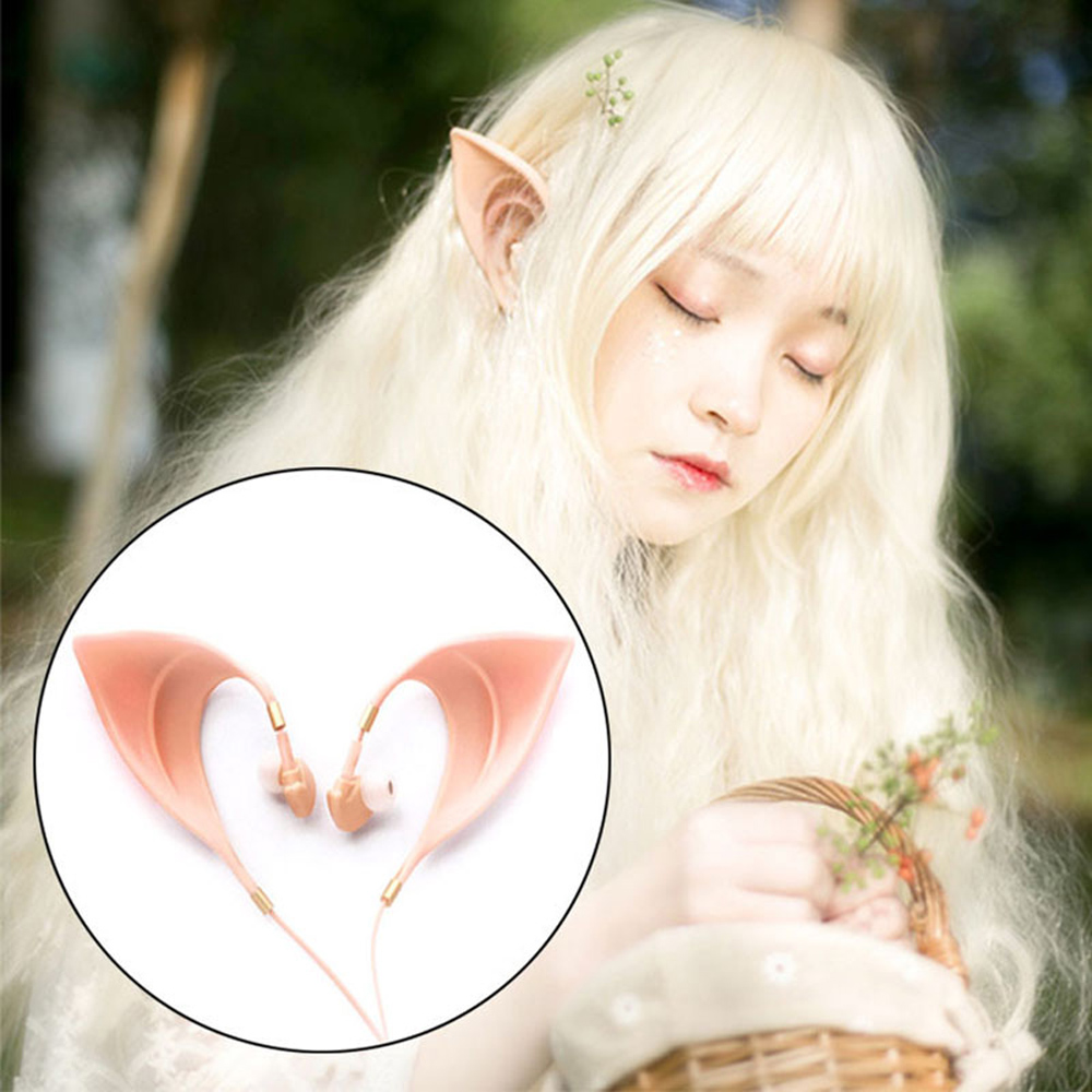 Spirit Creatives Gifts 3.5mm Elf Ears Headphone Microphone Replacement Earbuds for iPhone Android PC MP3 Cosplay Fairy