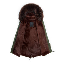 Man style long Army green winter parka coffee color raccoon hood with faux fur lining coat