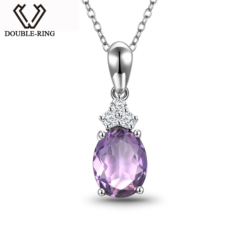 DOUBLE-R Natural Amethyst 925 Sterling Silver Pendant Necklace Fine Jewelry Bijouterie Wedding Necklace For Women gemstone fine women jewelry real natural fresh water pearl pendant necklace wedding necklace 925 sterling silver double layers