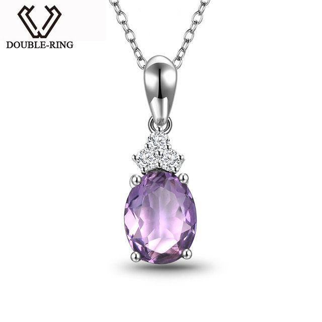 DOUBLE-RING Fine Jewelry Bijouterie 925 Sliver Gemstone Amethyst Romantic Pendants for Ladies Women Wedding Part Gift CASP00754B