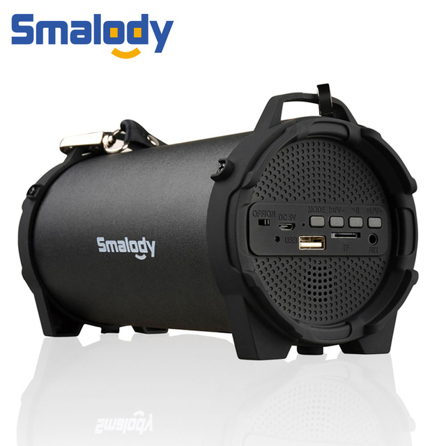 Smalody Portable Wireless Bluetooth 4.2 Speaker Outdoor USB Mini Loudspeaker Music Column Speakers Subwoofer With Carry Strap FM