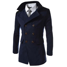 Hot Sale 가 긴 울 Coat Men 패션 Turn-down Collar 울 Blend 두 번 Breasted Pea Coat Jacket Men brand 코트(China)