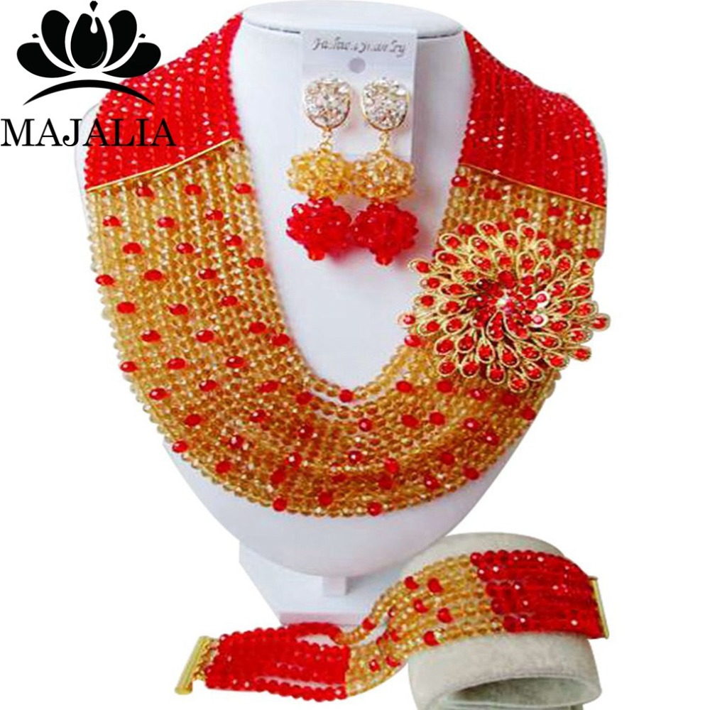 Majalia Fashion Nigeria Wedding African Beads Jewelry Set Gold champagn and Red Crystal Necklace Bridal Jewelry Sets 10CS0014