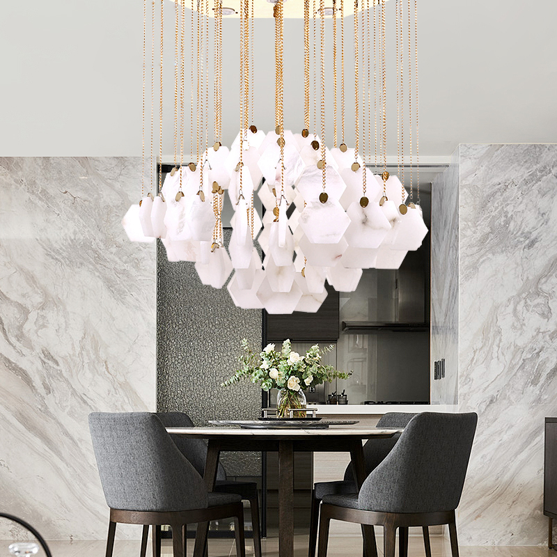 Modern Lustre Marble Led Chandelier Lighting Copper Metal Living Room Led Pendant Chandeliers Lights Dining Room Suspension Lamp