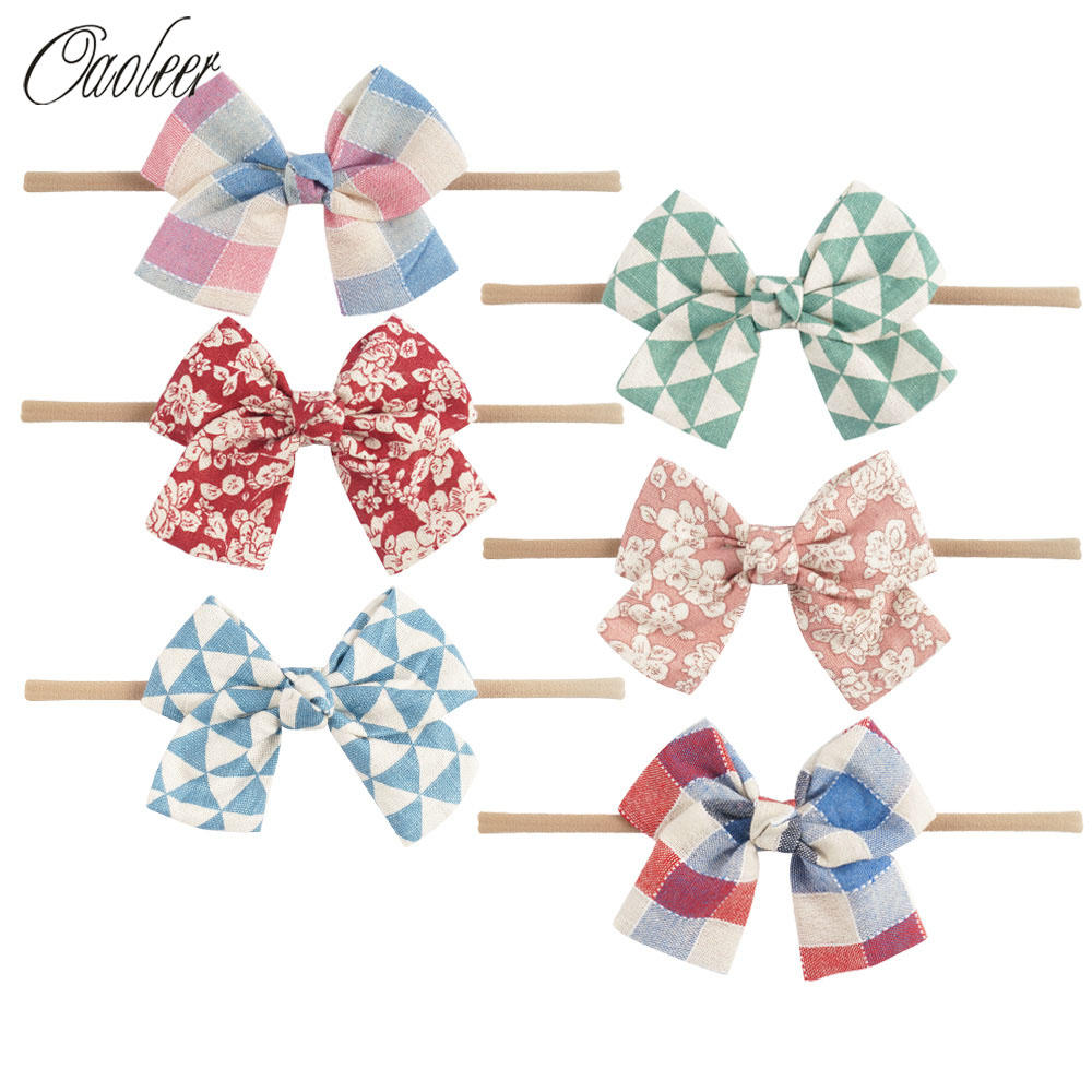 6Pcs/lot Nylon Headband Fabric Top Knot Headband Kids Headbow Elastic Bows Ties For girl Hair Accessories 3pcs lot lovely printed floral fabric bow headband striped dots knot elastic nylon hair band for girl children headwear
