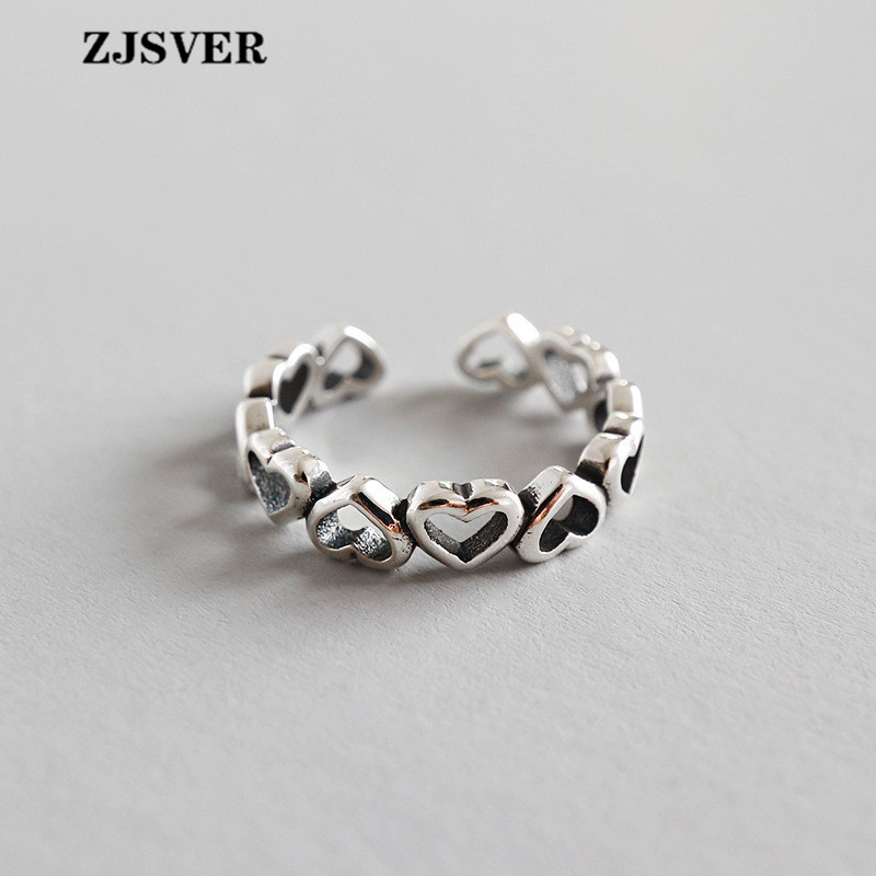ZJSVER Fine Jewelry 925 Sterling Silver Rings Fashion Unique Design Retro Silver Heart Shape Opening Adjustable Women Ring(China)