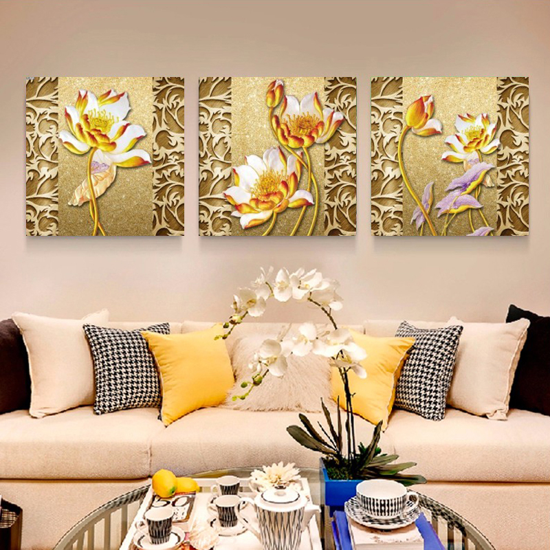 Home Decor Wall Art Canvas Painting Lotus Cheap Modern