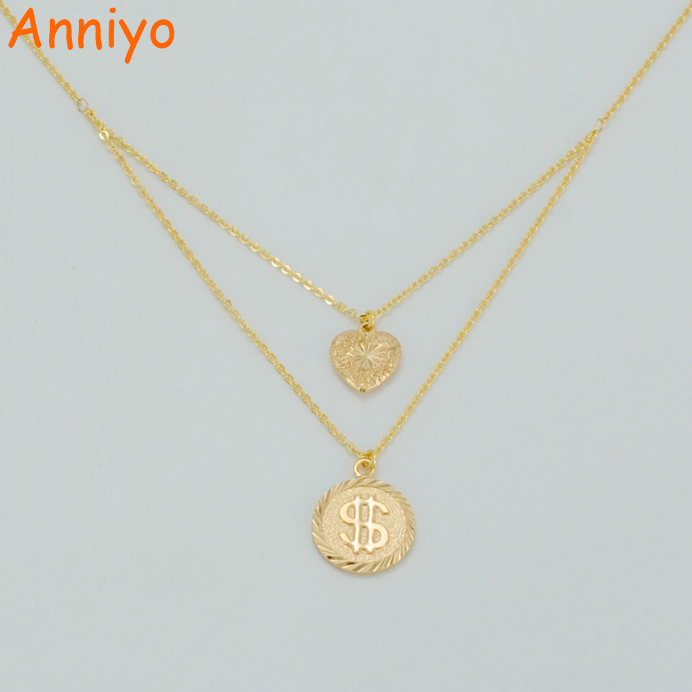 Anniyo 45cm heart and coin necklaces for womengirlsgold color anniyo 45cm heart and coin necklaces for womengirlsgold color us dollar coin symbol jewelry bead birthday gifts 036304 in pendant necklaces from buycottarizona Images