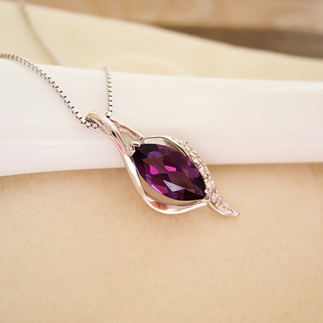 100% natural amethyst pendant necklace crystal 925 Solid Sterling Silver new fashion pendant for woman best girl brithday gift