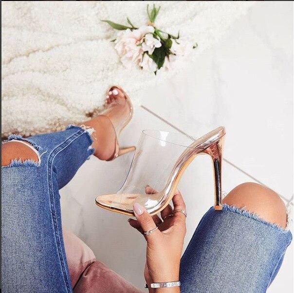 LTARTA Champagne Sandals Women's Shoes Transparent Autumn High-Heeled Single-Shoes New