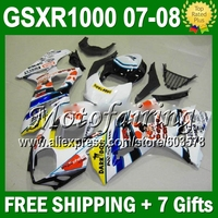 100% NEW White For SUZUKI K7 GSX R1000 07 08 2007 2008 GSXR 1000 Blue white K7 880 GSX R1000 GSXR1000 Fairings +7gifts
