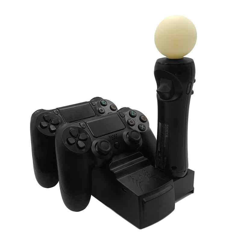 Складной двойной Порты и разъёмы Charging Dock Зарядное устройство станция с 4 шт. индикатор зарядки для PS4 контроллеры серии PS Move высокое качество