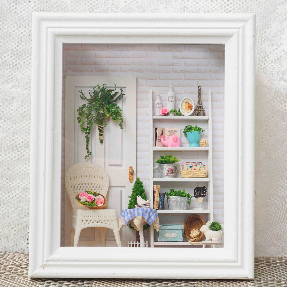 CUTE ROOM New Style Handmade Craft Doll House Frame Miniature With Led Furniture Diy Wooden Dollhouse Toy Gift