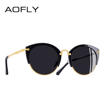 AOFLY Fashion Polarized Sunglasses Women Brand Designer Vintage Retro Cat Eye Sunglasses Female Half Frame Style Glasses A121