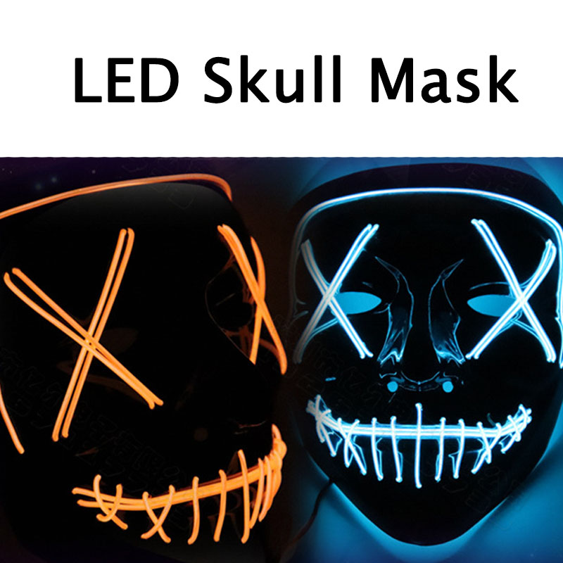 Dropshipping Halloween Mask Light Up Party Masks The Purge Election Year Funny Masks Festival Cosplay Supplies Glow In Dark glow in the dark saw skull head style mask transparent